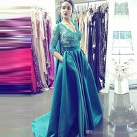 Wholesale Long Sleeve Celebrity Event Dresses - 2017 Green Formal Prom Party Dresses With Pockets Long Sleeves V-Neck Vestidos De Novia African Formal Evening Event Wears Celebrity Gowns