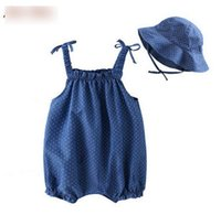 Girl blue baby bonnet - Baby outfits summer toddler kids cotton cowboy polka dots bows ruffle romper ruched bonnet sets children clothing C0002