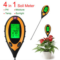 Wholesale Garden Soil Moisture Tester - Wholesale-Factory Price Professional 4 In1 LCD Temperature Sunlight Moisture PH Garden Soil Tester PH Meters Brand New Free Shipping