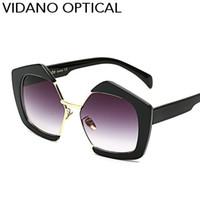 Wholesale Mix Street Fashion - Vidano Optical High Quality Europe Street Fashion Semi Frameless Designer Sunglasses For Women Gradient UV400 Protection