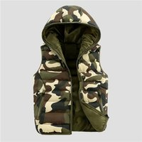 Wholesale Casual Male Camouflage Vest - 2018 Good Quality Mens Spring Autumn Camouflage Sleeveless Jacket Male Cotton Hooded Casual Camo Military Vest Top