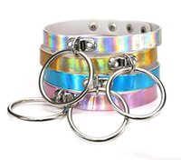 Wholesale Slave Collared Women Metal - Rainbow Laser PU Leather Choker Necklace Collar Metal Circle Ring Charm Sub Slave Necklace for Women Statement Jewelry