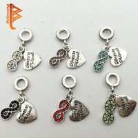 Wholesale Rhinestone Bead Infinity Bracelet - BELAWANG Silver Infinity Shape Pendant Heart Shape Colorful Crystal Rhinestone Loose Beads Fit Pandora Bracelet&Necklace DIY Jewelry Making