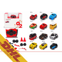 Wholesale Christmas Toy Car - 30pcs lot Mini IR RC Stunt Car 360 Rotation Q2 Cars 9 Accessories 4CH Radio Remote Control Vehicle 12 Colors Toys for Kids Christmas Gift