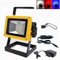 Wholesale Wholesale White Square Chargers - 10W Floodlight Rechargeable 24 LED Flood Light Portable Lamp Red White Blue Light for Outdoor Camping Work Light + Charger + 3x18650 Battery