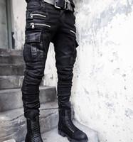 Wholesale Rock Coat Men Fashion - Wholesale-New Fashion Brand Zipper Mens Biker Jeans British Style Harajuku Slim fit Jeans Men Pants Black Motorcycle Rock Jeans Men M-XXL