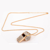 Wholesale Rhinestone Whistle - Fashion Gold Color Alloy Rhinestone Crystal Whistle Long Sweater Chain Pendant Necklace, Beauty Women Accessories Jewelry