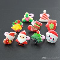 Wholesale children's rings for sale - Group buy 2017 hot sale styles Children s ring PVC christmas ring decorations prizes small gifts gloves santa christmas tree snowflakes ring
