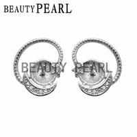 Wholesale Earrings Blank Stud - 5 Pairs Star Moon Earring Base DIY Jewelry Findings 925 Sterling Silver Zircon Stud Earring Blanks