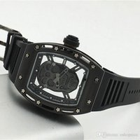 Wholesale Skull Watches For Men - Fashion men's luxury watches Top brand Rubber Strap Skull dial Gold Quartz watch For men male clocks best gift wristwatches Reloj Hombre