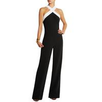 Wholesale Women S Fashion Bodysuits Wholesale - Wholesale- Playsuits Bodysuits Jumpsuit women\'s overall Black white stitching Sling Halter sexy fashion Large size pants coveralls