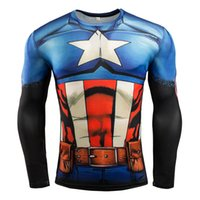 Wholesale Superman Long Sleeve Mens - Mens Compression Shirt Superhero Superman Capitan America Iron Man 3D T Shirt Brand Clothing Fitness Men Long Sleeve T-Shirt