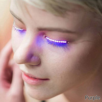 Wholesale Colour Changing Plastics - Fashion flashing waterproof colour changing LED eye lashes luminous eyelashes for Dance Concert Christmas Halloween Nightclub