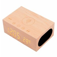 Wholesale Qi Alarm - Wood Bluetooth X5 Speaker with Qi Wireless Charger Alarm Clock function double USB for mobile phone portable