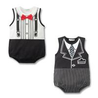 baby gentleman tuxedo großhandel-Baby Strampler Sommer Kleidung Mode Tuxedo Bodys Gentleman Kleidung Kinder Sleeveless Tie Kleid Baby Mode Kleidung