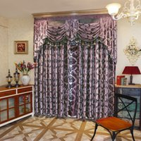 O trabalho europeu high-end jacquard knit Window Blackout Curtain for Living Room hotel villa purple wholesale wholesale price price