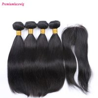 Wholesale Double Star Parts - Prida Star Unprocessed Virgin Brazilian Straight Hair With Closure Middle Part 4 Bundles Human Virgin Hair With Lace Closure 1pc