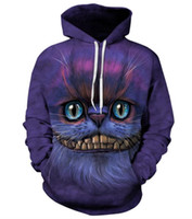 Wholesale Cat Sweater Xl - New Fashion Couples Men Women Unisex Cheshire Cat 3D Print Hoodies Sweater Sweatshirt Jacket Pullover Top S-5XL T47