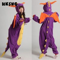 Wholesale Spyro Dragon Costume - costume cosplay HKSNG Unisex Adult Winter Spyro Shiryu Purple Dragon Green Grey Gray Pink Dinosaur Pajamas Onesies Cosplay Costumes Kiguruma