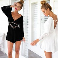 Wholesale Jumpsuit Fashion Show - Europe and American Women Beach Boho Dress Sexy Summer Sheer Floral Lace white and black color Women's Jumpsuits fashion show brand designer