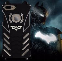 Wholesale Armor Series Iphone - R-JUST Batman Series Heavy Dust Metal Armor Anodized Aluminum Case for IPhone 7 Plus 7 6 6S 5 5S SE Fundas Coque Housing Cover