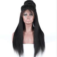 Wholesale Long Heavy Hair - Hot sale 1b heavy yaki straight peruvian virgin hair ponytail lace front human hair wigs free shipping
