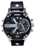 Wholesale leather case fashion logo - Fashion Brand 7313 Men's Big Case leather strap Quartz wrist Watch watches full logo