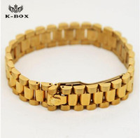 Wholesale President Plate - 2017 High-End Hiphop Watchband Adjustable Mens Bracelets 13-15mm Width 24K Gold Plated President Strap Crown Bracelets