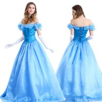 Wholesale Cinderella Costumes Adults - Fashion womens ladies luxury Cinderella princess costume Adult Cinderella costume fairy tale cosplay For party M L XL