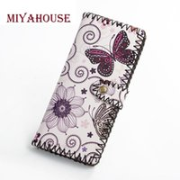 Wholesale Ladies Wallets Butterflies - Miyahouse New Fashion Hasp Women Wallet Floral Butterfly Printed PU Leather Long Wallet Female Zipper Coin Purse Ladies Wristlet