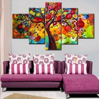 Wholesale Tree Life Abstract Hand - Hand Painted colorful tree oil paintings 5 piece canvas art Modern Home Decoration wall pictures for living room