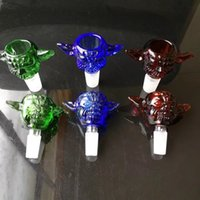 Wholesale Bucket Ears - Multi-color large ears scrub bubble glass bongs accessories , New Flat TopThick Bottom Glass Banger with Honey Bucket Frost Joint for Glass
