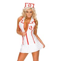 Wholesale Sexy Dress Nursing - Female Cosplay Party Mini Dresses 2017 Summer New Sexy Nurse Role Play Delight Summer Dresses Sleeveless Deep V Collar Mini Dresses