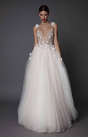 Wholesale Embellished Flowers - 3d floral appliques beaded wedding dresses 2017 muse berta bridal spagetti deep v neck embellished bodice tulle skirt open low back