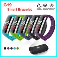 relógios de pulso venda por atacado-Pulseira inteligente G19 Pulsometer Relógio Inteligente de Pressão Arterial de Fitness Relógios Pedômetro Pulseira Inteligente Atividade Rastreador de Pulso Banda Para celular