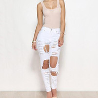 Wholesale Women Fashion Sexy Jeans Hole Pants Jegging High Waisted Skinny Big Size Hi Rise Elastic Pencil Pants
