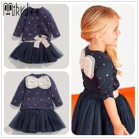 Wholesale Hot Christmas Mini Skirt - Hot Selling Girl's Star Dress 2PCS Bowknot Long Sleeve Sweaters Tutu Tulle Dresses Bow Attaches Skirt Christmas Cotton Clothes Outfits Set