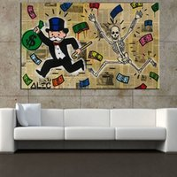 Wholesale Poster Frames Sizes - Framed Alec Monopoly Skull Poster Modern Abstract art Wall Decor Handcraft Graffiti Art oil painting High Quality Canvas Multi sizes