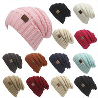 Wholesale CC Knitted Hats CC Trendy Winter Beanie Warm Oversized Chunky Skull Caps Soft Cable Knit Slouchy Crochet Hats Fashion Outdoor Hats B2360