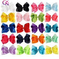Wholesale Baby Hairs - 8 Inch Rhinestone Hair Bow With Clip For School Baby Children Large Sequin Bow 10 Style Option