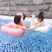 juguete inflable cisne piscina al por mayor-Moda nuevo bebé natación anillo inflable flamencos asiento de cisne barco agua natación anillo piscina natación flotador piscina playa juguetes