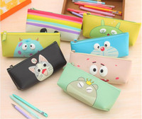 Wholesale christmas stationery free shipping - Cute adorable eye hand pen bag stationery bag pencil waterproof bag PU leather for Boys Girls Christmas gift free ship