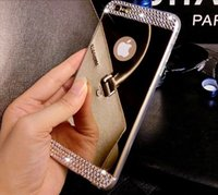 Barato Capas Bling Silicone Para Iphone-Bling Shining Diamond Rhinestone Electroplating Mirror TPU Silicone Soft Case Cover para iPhone 8 7 Plus 6 6S 5 5S Samsung S7 Edge S8 Nota 5