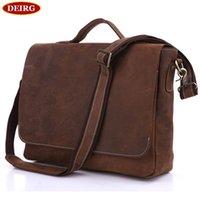Wholesale Genuine Red Leather Handbags - Vintage Genuine Leather Crossbody Shoulder Bag For Men Cowhide Male Business Handbag Briefcase Fit For 13 Inch Laptop PR097108