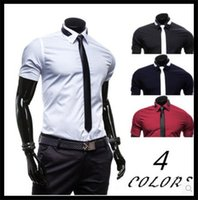 Wholesale Men Tie Buy - 2017 hot style men's cultivate one's morality short sleeve shirts Send tie pure color business bought shirts on sale of leisure