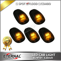 Wholesale Driving Light Led Amber - 5pcs set 4x4 offroad SUV truck ATV pick-up LED CAB light amber 9-LED car cab roof marker lights signal warning driving lamp