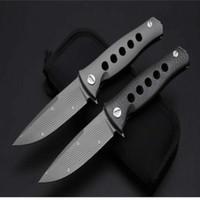 Wholesale Hunting Heads - 58-60HRC Can head titanium handle knife (handle double-sided titanium, carbon fiber handle) D2 folding knife ZT 1pcs free shipping