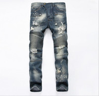 Wholesale Tight Cropped Jeans - Top sales Famous Distressed Ripped Biker Stretch Jeans stretch Demin jeans Hiphop Cropped Pants with Extreme Tight Plus size 29~42