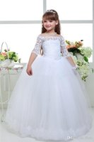 Wholesale Simple Flower Dresses Kids - Sweety Long Lace Ball Gown Flower Girls Dresses Simple Half Sleeve Kids Wedding Party Dress First Communion Dresses For Girls 2017