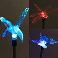 солнечная лампа-бабочка-стрекоза оптовых-Wholesale- Multicolor LED Solar Light Outdoor Dragonfly/Butterfly/Bird Lawn Lamps Solar LED Path Light Outdoor Garden Lawn Landscape Lamp